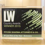 Lawyers World Country Awards Winner 2015 - IP Law Firm of the year Botswana